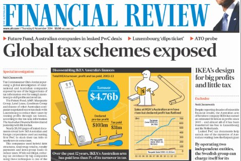 Financial Review front page on Ikea's tax free profits