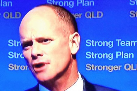 Campbell Newman with 'Strong' slogan background