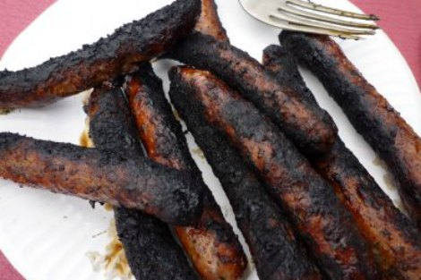 Burnt sausages