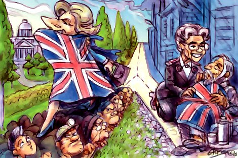 Maggie Thatcher and Eva Burrows caricature