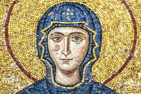 The Virgin Mary and Jesus Christ as a child, a Byzantine mosaic in the interior of Hagia Sophia, Istanbul.