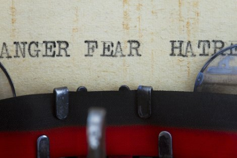 Typed words Anger Fear Hatred