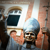 Statue of St John Paul II outside Catholic school