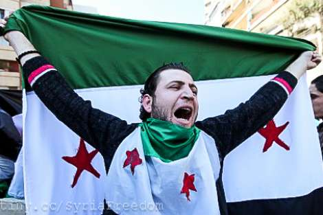 Anguished Syrian with flag