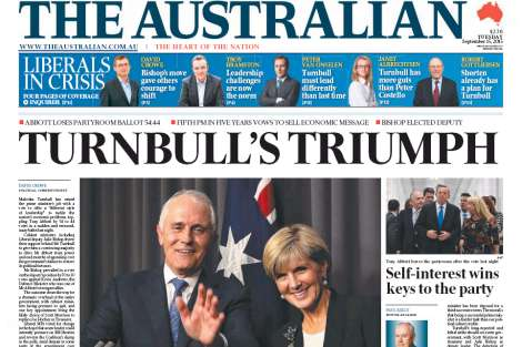 The Australian headline 'Turnbull's Triumph'