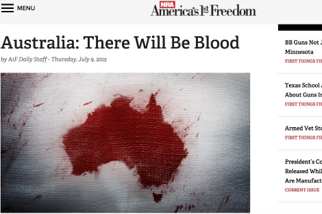 NRA article Australia: There Will Be Blood with Australia shaped bloodstain