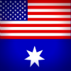 Australia flag with US flag in place of Union Jack
