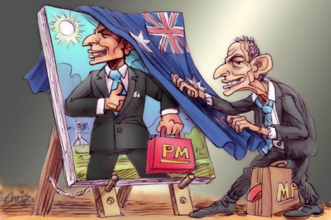 Decrepit Tony Abbott looks at shiny 'legact' portrait. By Chris Johnston