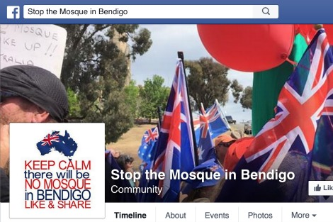 Stop the Mosque in Bendigo Facebook page