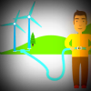 Cartoon from COP21 site of man plugging electric car into wind farm