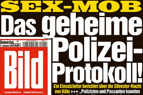German newspaper front page about Cologne New Years Eve attacks