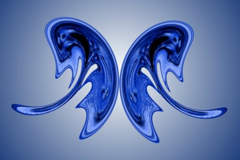 Blue butterfly shape