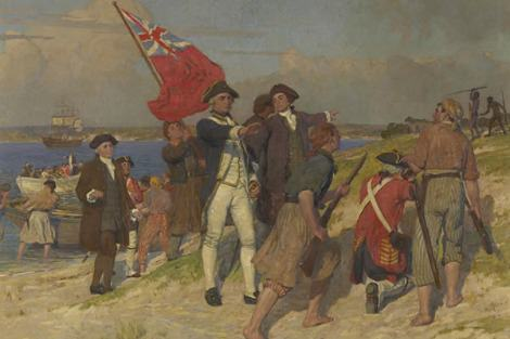 Emmanuel Phillips Fox portrays Captain Cook in heroic mode landing at a pristine Botany Bay