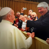Frank Brennan presents Pope Francis with a bottle of Sevenhill wine