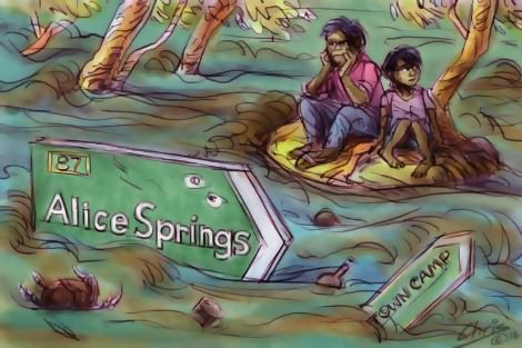 Aboriginal people of Alice Springs forlorn among floodwaters