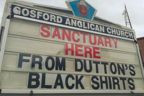 Gosford Anglican Church sign offering sanctuary to asylum seekers
