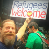 Bearded protestor at #LetThemStay rally in Brisbane