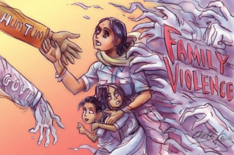 Indian women and children flee the spectre of family violence
