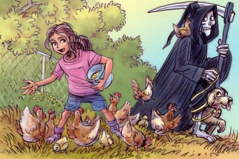 Artwork by Chris Johnston shows death leading a dog away while a young girl feeds her pet chickens