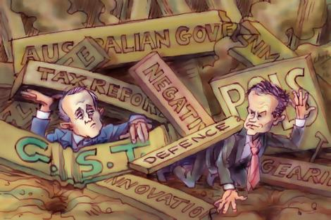 Bill Shorten clambers out from under a pile of debris while Malcolm Turnbull struggles. Original artwork by Chris Johnston