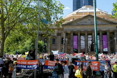 Protestors at the Victorian State Library on Palm Sunday
