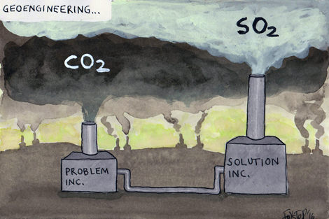 'Problem' pollution is overrun by 'solution' pollution. Cartoon by Greg Foyster