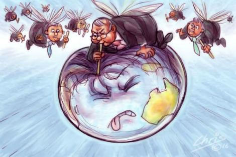 Banker parasites sucking the world dry. By Chris Johnston