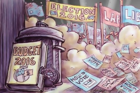 Budget discarded among the stampede towards the election. Cartoon by Chris Johnston