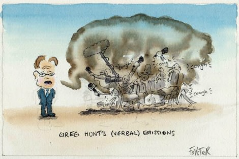 Greg Hunt's verbal emissions pollute climate discussion. Cartoon by Greg Foyster