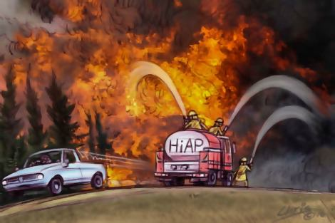 HiAP truck rides in to fight fire. Chris Johnston cartoon