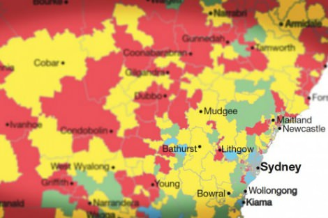 Map of Sydney shows areas of disadvantage