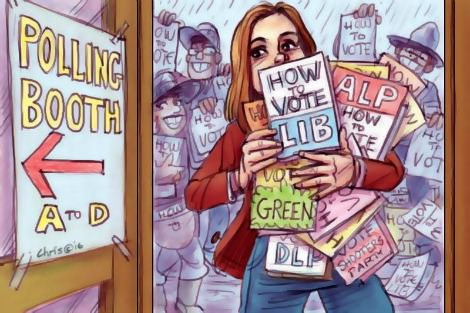 First time voter overburdened by 'how to vote' pamphlets. Cartoon by Chris Johnston