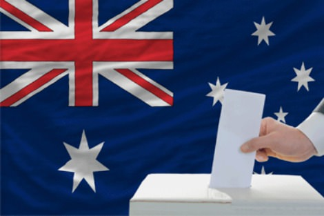Ballot box in front of Australian flag