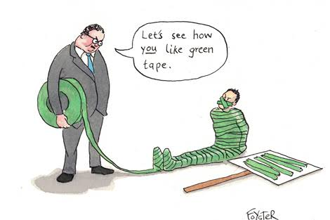 Advocate bound by green tape. Cartoon by Greg Foyster
