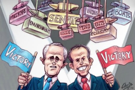 Turnbull and Shorten both equivocally celebrate victory. Cartoon by Chris Johnston