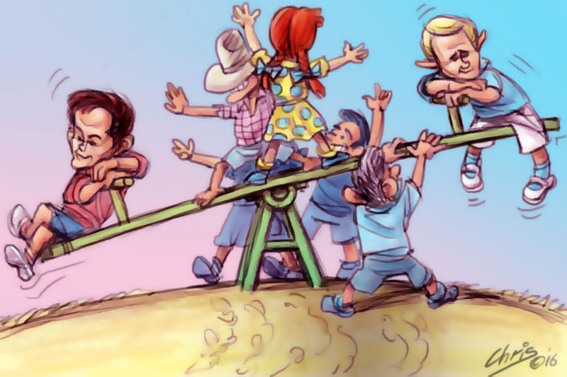 Child like Shorten and Turnbull rest on either end of a seesaw.