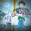 Mural of homeless family