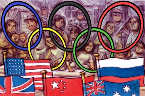 Favela residents watch opening ceremony from behind an Olympic Rings barricade. Cartoon by Chris Johnston