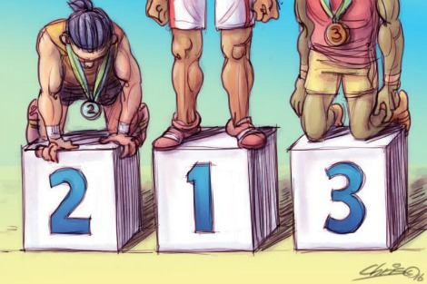 Olympic medals podium, with second and third places visibly more exhausted than first. Cartoon by Chris Johnston