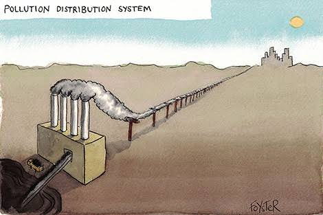 Pollution distribution system, cartoon by Greg Foyster