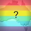 Australia with rainbow filter and question mark