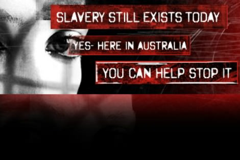 Woman's eye with message about slavery's presence in Australia