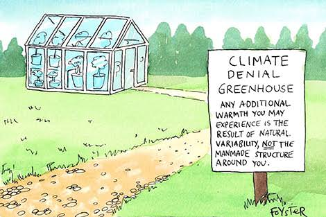 Greg Foyster cartoon 'Climate denial greenhouse.