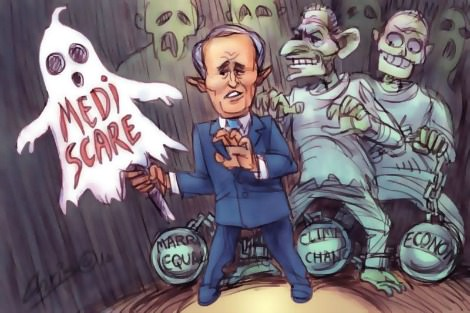 Malcolm Turnbull with Mediscare ghost cutout is haunted by other more significant issues