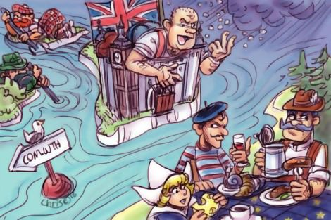 British redneck flips the bird as England drifts away from Europe. Cartoon by Chris Johnston