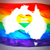 Map of Australia on rainbow flag