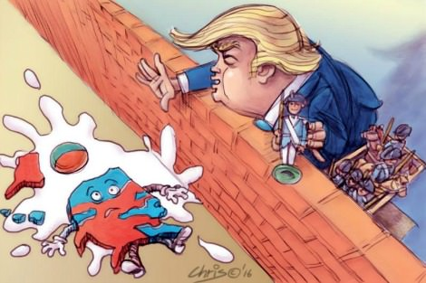 Trump pushes America Humpty Dumpty like from a wall. Cartoon by Chris Johnston