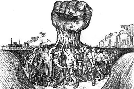 Workers hands unite into one large fist