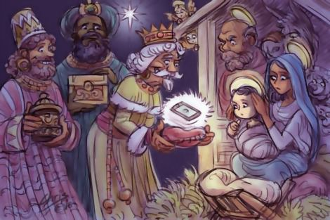 Cartoon by Chris Johnston shows the three wise men presenting an iPhone to an appalled Holy Family.