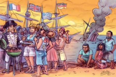 White barbecuers ignore neglected Aboriginal Australians and asylum seekers. Cartoon by Chris Johnston